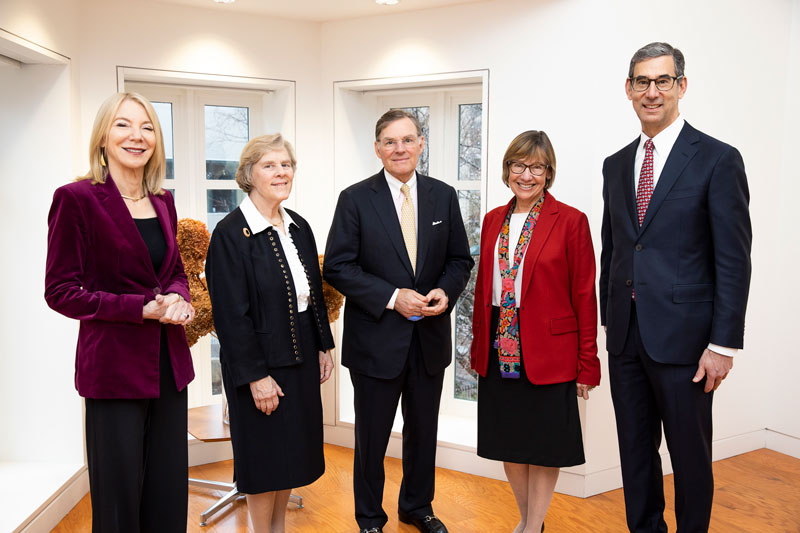 Penn President Amy Gutmann, Suzanne McGraw, Harold McGraw III, GSE Dean Pam Grossman, and Catalyst Director Michael Golden at the McGraw Prize launch event in February 2020.