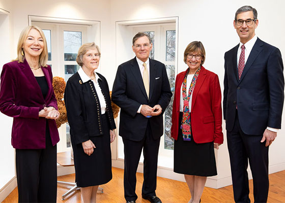 Penn President Amy Gutmann, Suzanne McGraw, Harold<br /> McGraw III, GSE Dean Pam Grossman, and Catalyst Director Michael Golden at the McGraw Prize launch event in February 2020.<br />